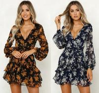 Женщины Платья с длинным рукавом Многоуровневое Мода V-образным вырезом цветка печати платье Межсезонная одежда женщин French Elegance Sexy Midi Dresse S-3XL