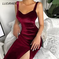 2020 Velvet Sleeveless Spaghetti Strap Knee- Length Bodycon D...