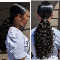 """100% Remy humano cabello cordón de caballo de caballo extensión de cabello torcido rizado rizado 1 pieza envolver pony cola peluquería para mujer # 1b Natural negro 16 """"140 g"""