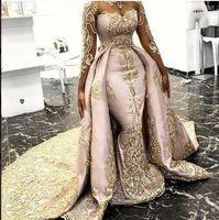 2020 Abiti da sera della sirena overskirts Sheer collo maniche lunghe Yousef aljasmi Appliqued merletto promenade staccabile Formal Party Dress 2071