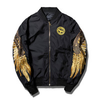 Street Fashion Brand Mens Coat Angel Wings Broderie Imprimé col stand Veste Hip Hop Baseball Uniforme