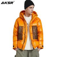 AKSR hiver Down Jacket Men manteau à capuchon chaud épais duvet de canard Puffy Veste pour les hommes d'hiver Manteau Homme Doudoune Plumones