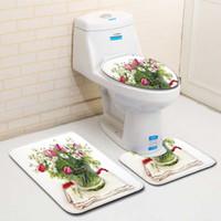 Nórdico 3D Planta Tapete Tapete Tapete de Banho Tapetes Conjuntos de Tapetes Do Banheiro Do Banheiro Flanela Anti Deslizamento 3 Peças Conjuntos de Tapete de Banho