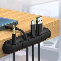 5 clip Cable Organizer Silicone Disposizione USB Avvolgitore per cuffie mouse Desktop Desktop Tidy Finitura Protector Cable Wire Wraveper)