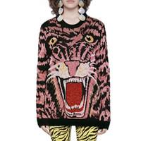 Harajuku autunno misto lana lavorato a maglia della testa della tigre del jacquard del modello Maglione Pullover Maglione maniche lunghe di modo di inverno