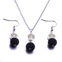 10mm Negro Lava Piedra Árbol de la vida Sistemas de la Joyería Diy Aromatherapy Aceite Esencial Difusor Collar Para Las Mujeres Joyería