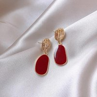 Women' s Fashion Wine Red Earring Geometric Exaggeration...