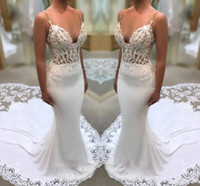 2019 Modern Spaghetti Beach Wedding Dresses Lace Top Sexy Br...