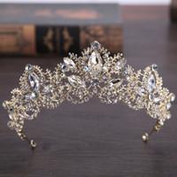 2019 Yeni Moda Barok Lüks Kristal Gelin Taç Tiaras Işık Altın Kadınlar Için Diadem Tiaras Gelin Düğün Aksesuarları