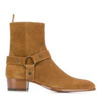 Hombre Slp Wyatt Arnés botas de becerro de cuero / ante / zapatos de cuero de Brown Boots SLP occidental botas de vaquero Street Style