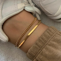 2020 Couleur or rose serpent en acier inoxydable Chaîne de cheville Femme coréenne simple bracelet rétro pied accessoires de plage boho bijoux
