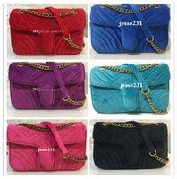 Vendita di modo delle donne Tracolle Classic Gold Catena 26 centimetri Velvet Bag Donna Stile Cuore borsa Tote Bags Messenger Borse