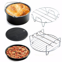 5pcs / set Hornear cesta + pizza de plato + Grill + Pan + cojín de rack para aire eléctrico freidora freidora eléctrica de piezas de cocina utensilios de cocina Kits Set