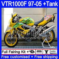 Cuerpo para HONDA VTR1000F SuperHawk 97 98 99 03 04 05 256HM.35 VTR 1000 F 1000F VTR1000 F 1997 1998 1999 2003 2004 2005 amarillo carenado