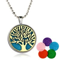 Atacado-Silver Plated Jewelry with Tree of Life Pattern Necklace Pendant Aromatherapy Oil Essential Diffuser Necklace for Women Party