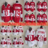Detroit Red Wings Vintage Versão Hóquei Jersey 14 Shanahan 24Chelios 19 Steve Yzerman 9 Gordie Howe Branco CCM Jersey