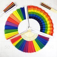 Ventilador de mano Cubierta de tela Nuevo estilo Regalos de boda Portátil Plegable Moderno Patrón de arco iris Ventiladores Exquisita Venta directa de fábrica 2 99sza p1