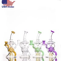USA fornito 8inch slyme Fab FTK Recyclers piattaforme petrolifere tubi dell'acqua con colore slyme Three Seed of Life Perc 14,5mm femmina comune