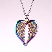 23325 della collana della lega Arcobaleno Angel Wings donne Angel Wings Pendant Custodi regalo di angelo dei monili di fascino dell'ala collana