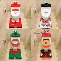 トイレットフットパッドシートカバーキャップクリスマスの装飾幸せなサンタトイレシートカバーとラグのバスルームアクセサリーサンタクロース1セット