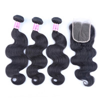 Body Weave 4 Pcs Human Hair Bundle With Closure Body Wave 3 ...