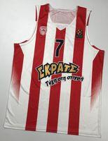 Imprimir Vassilis Spanoulis # 7 Olympiacos Olympiakos Euroleague Piraeus Retro Basquete Jersey Masculino Costume Personalizado Qualquer Número Nome Jerseys
