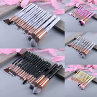 Neueste Make-up Pinsel 15pcs Marmorfarbe Muster Make-upbürste Professionelle Make-up Pinsel Set Blush Lid Shadow Makeup Pinsel DHL Freies Verschiffen