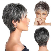 Short Pixie Cut Ombre Silver Grey Wigs Natural Gray Hair sho...