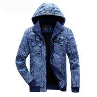 Мужские куртки Kimsere повседневная зима теплые джинсы и пальто Руна подкладки сгущающиеся термальные джинсовые куртки грузовика Верхняя одежда с капюшоном