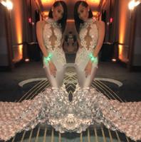 Elegante encaje sirena vestidos de baile 2019 Sheer Mesh Top de encaje apliques con cuentas 3D con cuentas tren de barrido formal vestidos de noche de fiesta BC1188
