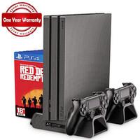 Nova venda quente PS4 / PS4 Magro / PS4 PRO Vertical Stand com Ventilador Cooler controlador duplo Carregador estação de carregamento para SONY Playstation 4