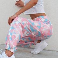 العلامة التجارية الوردي التمويه طباعة سراويل نسائية كامو البضائع السراويل العرق عالية الخصر مطاطا بنطلون عارضة جيوب فضفاض ركض