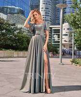 Shinning Silver V- Neck Slit Evening Dresses Special Occasion...