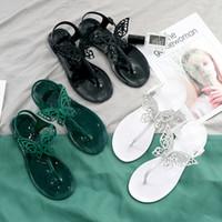 유럽 미국 새로운 플라스틱 체인 비치 신발 캔디 컬러 샌들 여름 플랫 단독 여성을위한 3 가지 색상