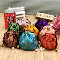 Sacs de cordon floraux Bijoux Pochettes cadeaux Tissu en soie Emballage Sac Bracelet Bracelet Pochette de rangement 11x11 cm