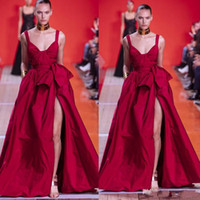 2020 Fronte spaghetti Elie Saab sexy abiti da sera rossi Split increspature Pagenat Celebrity abiti Una linea Runway Prom Dress Fashion