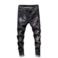Moda Streetwear jeans strappati per gli uomini Skinny Retro Elasticità Slim Qualità Maschio ricamo casuale denim Pantaloni G3P2