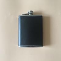 PU deri kalça şişesi paslanmaz çelik 8 oz açık taşınabilir flagon siyah deri şişesi