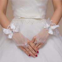 Meilleures ventes Gants bon marché pas cher mariage Blanc Longueur court Accessoires de mariage 2020 Bridals Gants Gants de mariée en dentelle fingerless
