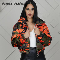 Camuflaje burbuja abrigos invierno de las mujeres Naranja Camo Parkas chaquetas de gran tamaño Puffer chaquetas Parka cremallera Outcoats