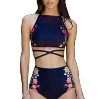 Women Bikini Set Swimwear Push-Up Padded Print Bra Swimsuit Beachwear Halter bikini high waist swimwear plavky