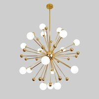 Nordic LED еда подвесные светильники постмодернистской личности стеклянный шарик одуванчика подвесной светильник американский простой спальня подвесные светильники 90-265 В