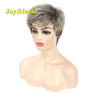 Joy&luck Short Wig Blonde Ombre Brown Color Straight Synthet...