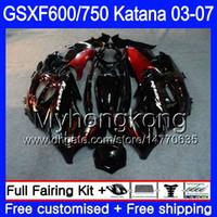 GSX600F Per SUZUKI GSXF 600 750 GSXF600 2003 2004 2005 2006 2007 293HM.18 GSXF-750 Fiamme rosse accese KATANA GSXF750 03 04 05 06 07 Carene