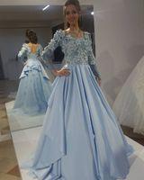 Impresionantes azul bebé Elie Saab vestidos de noche Vintage Puffy Top 3D apliques florales mangas largas Vestido de fiesta modesto Vestido de espalda bajo Árabe 2019