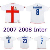2007 2008 Inter terceiro retrô camisa de futebol figo figo ibrahimovic camisa clássica j.zanetti Adriano Vieira Balotelli Vintage Jersey