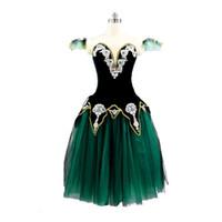 Schwarz Grünes Gold Romantisches Ballett Tutu Langes Kleid für Raymonda Mädchen Ballerina Professionelle Leistung Bühne Kostüm Kleid Frauen