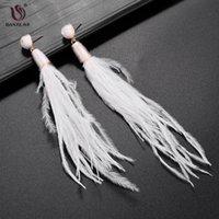 DANZE Pendiente de plumas para mujer Pendientes grandes pendientes blancos de la borla largos pendientes de moda cuelga Earing Boho oreja joyería