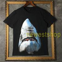 21ss الأزياء الملابس الرجال 3d الحيوان القرش طباعة بلايز القطن المحملة قمم المرأة قصيرة الأكمام camisa memisulina مصمم تي شيرت