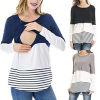 Mujeres encaje camisetas a rayas maternidad tops primavera otoño de manga larga color coincidencia camiseta mujer embarazada cruce ropa de amamantamiento C5788